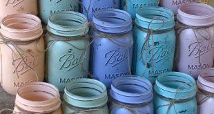 20 bocaux Mason de pinte, pots à boule, peint pots Mason vos couleurs, Vases à fleurs, centres de mariage rustique, douches, Parties corail mariage