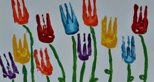 Art activities for kids - using forks to paint tulips! How pretty for a springti...