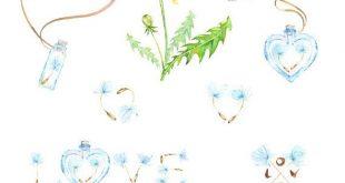 Pissenlits. Clipart aquarelle 14, blowballs, floral de mariage, invitation, carte de voeux, bricolage clipart, fleurs, citation, amour, pots, modèle