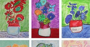 Van Gogh Sunflowers Art Lesson in Oil Pastel and Tempera Paint