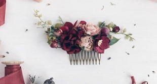 Bordeaux Blume Haare kämmen, tief rote Braut Haar Kamm, hochzeitshaarkamm, Braut Kopfschmuck, Hochzeit Kopfschmuck, Winter, Hochzeit