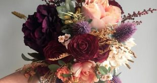 Fall Wedding Bouquet, Silk Wedding Bouquet, Rustic Bridal Bouquet, Burgundy Bouquet, Autumn Flower B