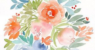 Flowers Painting, original watercolor flowers, spring florals, floral wall art, ...