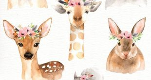 Forest Friends Watercolor Clip Art,Woodland Animals, Kids Clipart,Boho Clipart, Nursery Decor, Animal with flower crown, deer rabbit giraffe