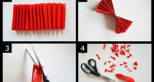 Instruction Layout - crepe paper flower pom pom - full post on Pretty Quirky Pan...