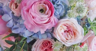 Lemon grass with ranunculus peonies (which could be replaced by more garden rose...