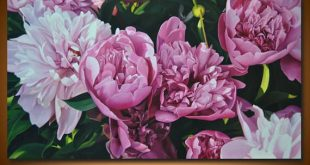Size: 60 x 110 cm / 23.6 x 43.3 in Peony painting, Pink paeonia, Flower painting...