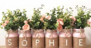 Baptême décorations fille centres de décorations baptême Floral, rustique, Mason Jar baptême Decor fille jute Mason pots décor de Table à Dessert