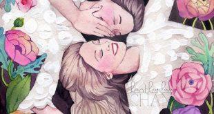 Best Friends Art - Sisters Art - Watercolor Painting Print