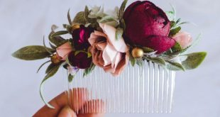 LAST 1 AVAILABLE- Wedding hair accessories, Burgundy blush flower comb, Flower hair comb, Greenery hair comb, Flower comb, Flower headpiece