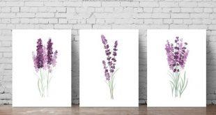 Lavender set 3 Art Prints, Purple Green Botanical Floral Wall Decoration, Lavender Field Modern Poster Watercolour Painting Living Room Art