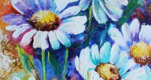 Marguerites aсryliс peinture sur toile art fleurs 16/20. Peint | Etsy