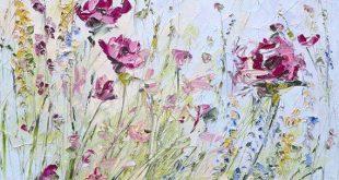 Rot blau Art Wildblumen abstrakte Original Gemälde blau kundenspezifische Strauß Malerei Blume Blumen Beige Landschaft Impressionismus moderne Messer