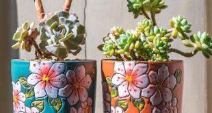 Satz von 2 – schöne Blume Stil Keramik Pflanzgefäß, Sukkulenten Pflanzgefäß, Keramik Pflanzgefäß, Inneneinrichtungen, einfaches Geschenk, Geschenkidee, Office Decor, Topf