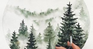 Watercolor drawing of the forest by Diana Lakshman... - #Diana #drawing #forest ...