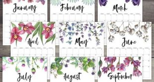 2020 Free Printable Calendar - Floral