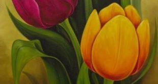 Artist Painting of Colorful Tulips from Mexico, 'Tulips II'