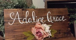 Baby Name | Nursery Decor | Boho Style Girls room | Flowers| Peonies | Handpainted Round Wooden Sign | Reclaimed wood | Rustic |