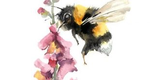 Bee on a pink flower art print, watercolor painting art, fine art print of bee, ...