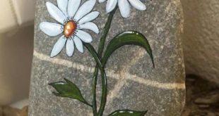 Best Painting Rocks Flowers Daisies 28 Ideas Beste Malerei Felsen Blumen Gänseb...