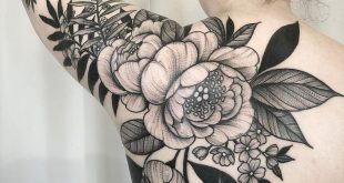 Black and grey tattoo artwork of Peonies flower done by tattoo artist Kyle Stach...