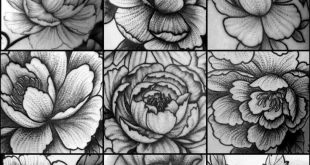 Blackwork dotwork stippling peony flower tattoos by Amy Williams Tattoo #tattoos