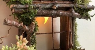 Fairy Window with Basket of Flowers and Light  Handcrafted by Olive  always one ...