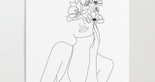 Frauengesicht mit Blumenillustrations-Kunstdruckplakat #Tattoos