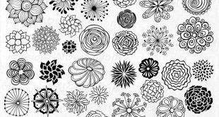 GROS LOT ! 44 clipart fleurs dessinées à la main, élément de la fleur, fleur Silhouettes, png, eps, ai, vecteur, clip art, pour le personnel et l'utilisation commerciale