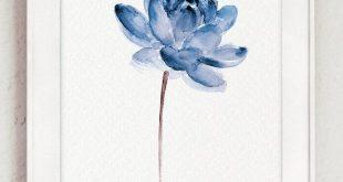 Lotus-Set von 2 Aquarell, blaue Wasser Blumen Leinwand Kunstdruck, moderne Blumen Illustration Wand-Dekor, abstrakte Blume Poster