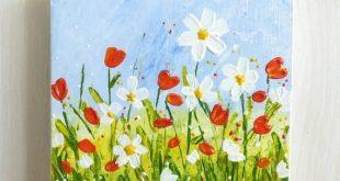 Mini Art und Staffelei, Original Acryl texturierte Blumen malen