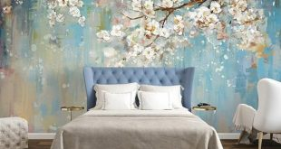 Oil painting Wallpaper Murals, Flower Pattern Wall Decorating ideas, Watercolor wall art-Purple Cherry Blossom Floral Tree Wall Mural