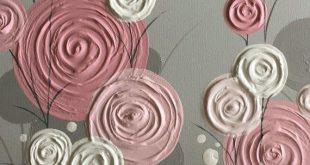Rosa y gris moderno arte de la flor, pintura original sobre lienzo, tamaño personalizado