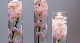Tauchfähige rosa, weiß, blau, turquiose Kirschblüte Floral Hochzeit Herzstück mit schwimmenden Kerzen und Acryl Kristalle Kit