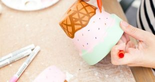 Waffle Cone Ice Cream Painted Flower Pots