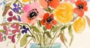 Watercolor flowers in a mason jar